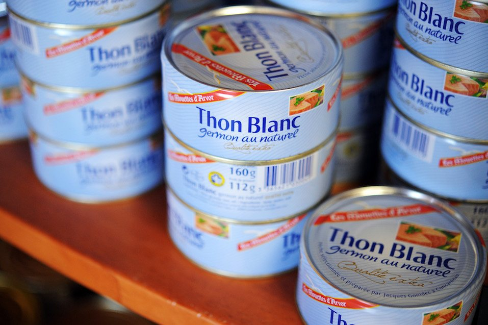 cans of tuna at the Gonidec canning fish factory i