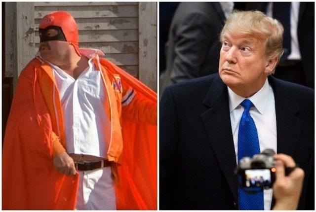 Captain Chaos and Donald Trump collage.
