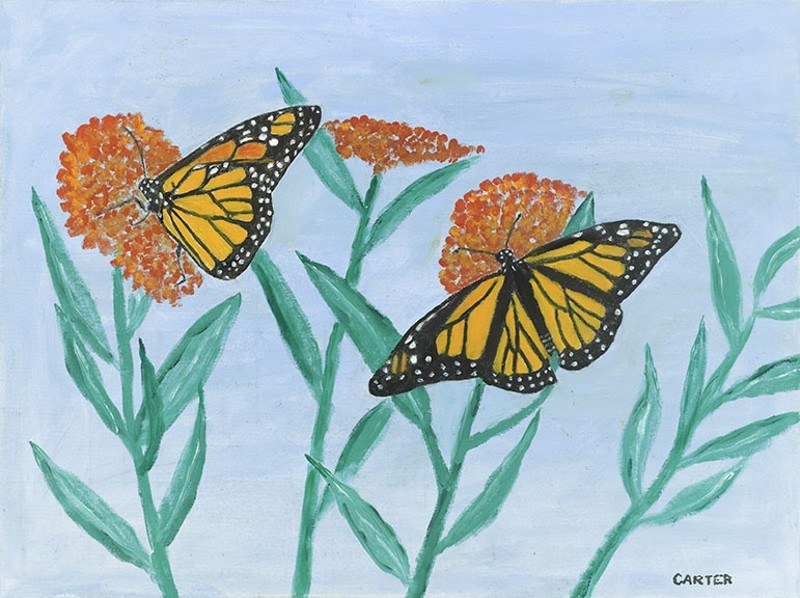 Jimmy Carter painting of butterflies