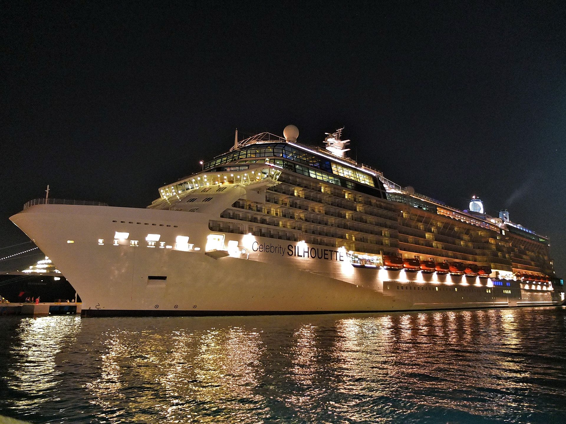 Celebrity Silhouette cruise ship at night