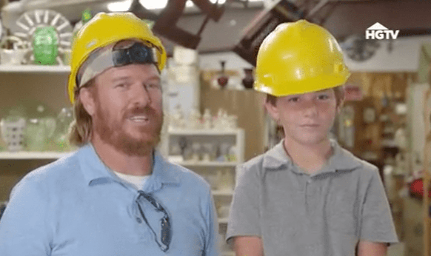 Chip and Duke Gaines shopping in hard hats