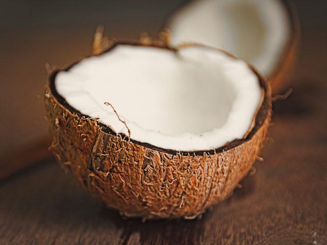 A coconut cut in half.