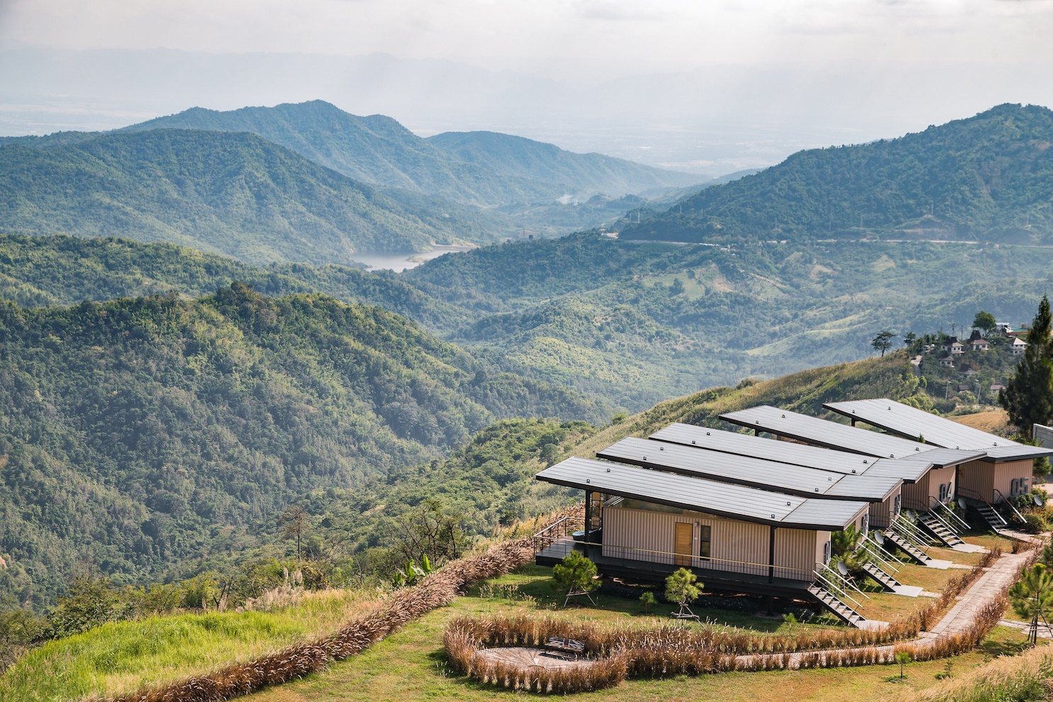 Resident shipping container homes on hill