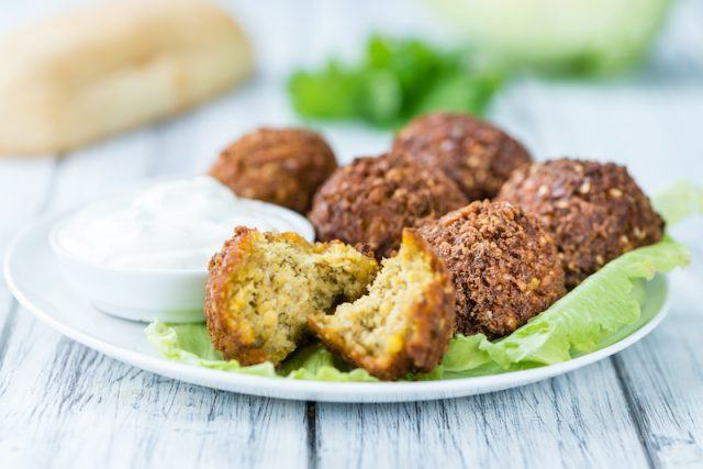 A plate of falafel.