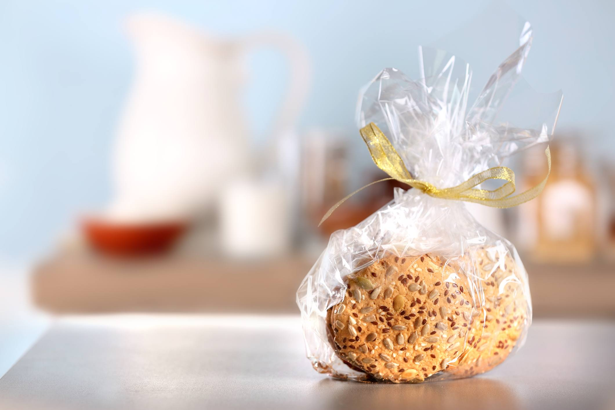 Cereal cookies in bag on table