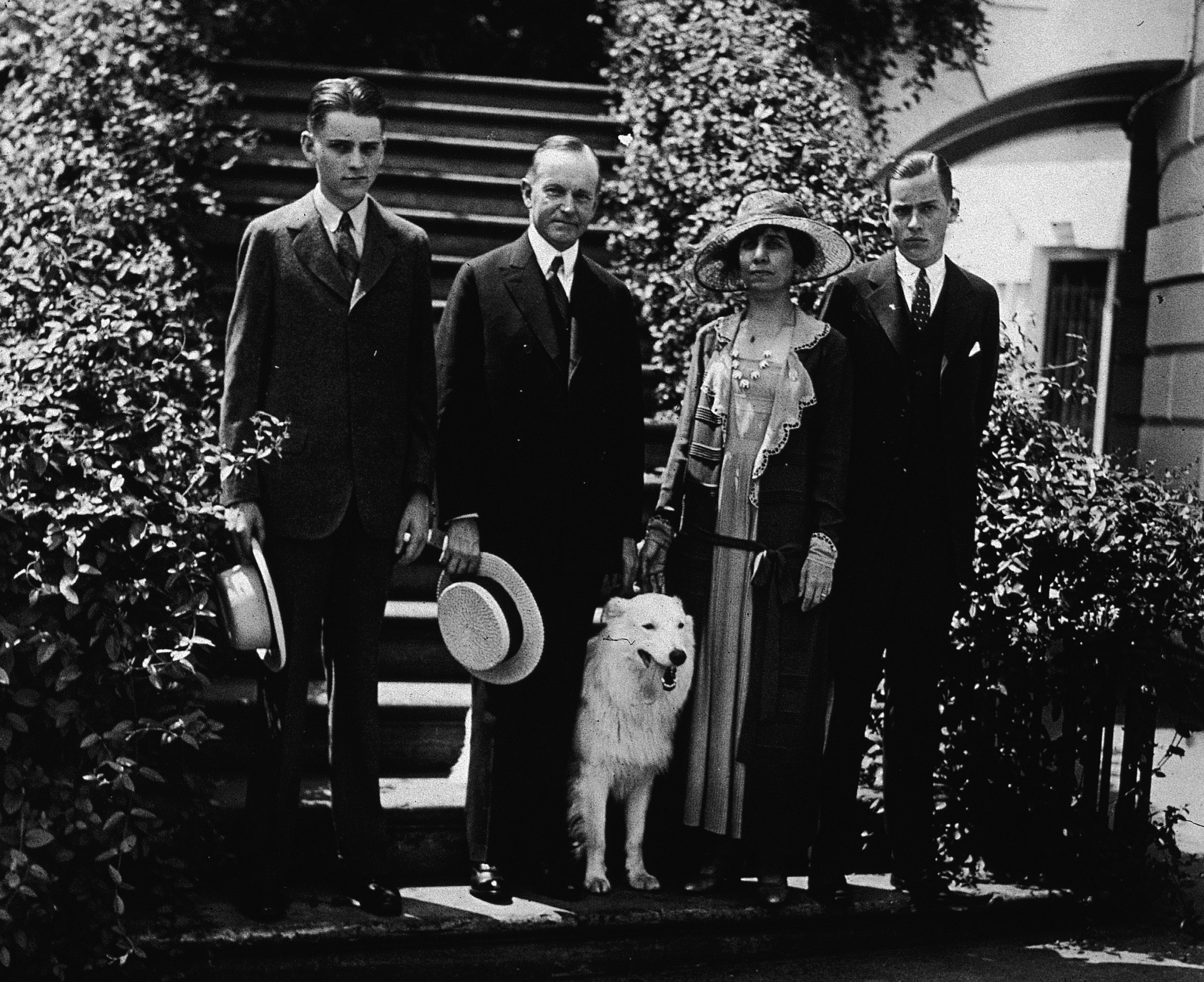 Calvin Coolidge With Family And Dog