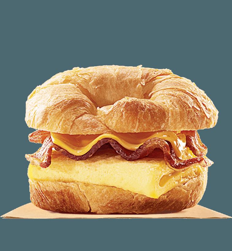 A croissant breakfast sandwich.