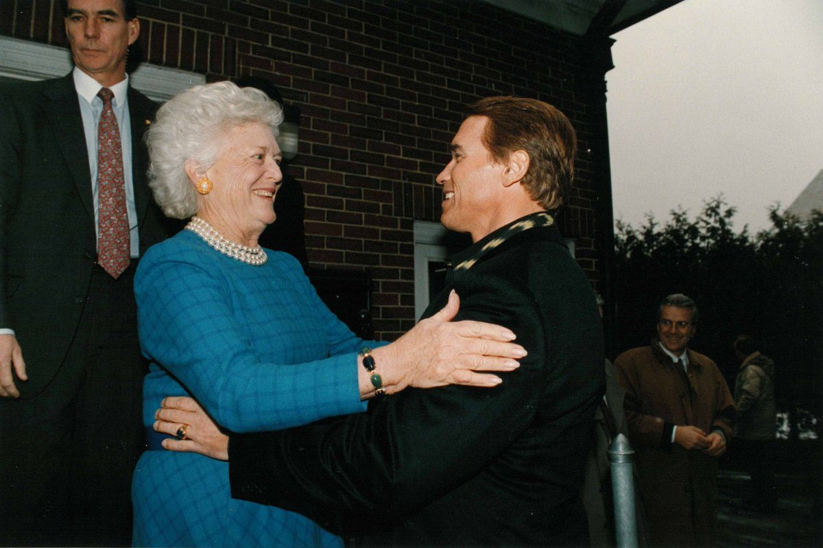 Arnold Schwarzenegger and Barbara Bush