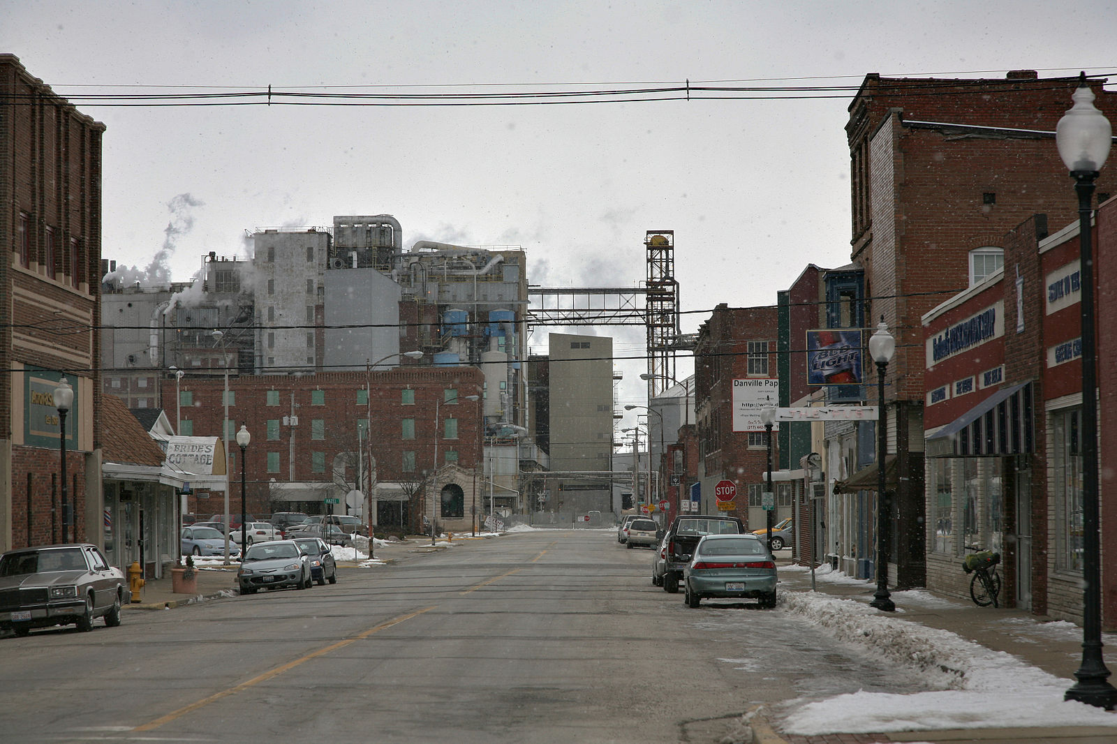 Danville IL downtown with grain mill smoking