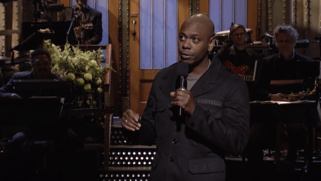 Dave Chapelle performing his monologue.
