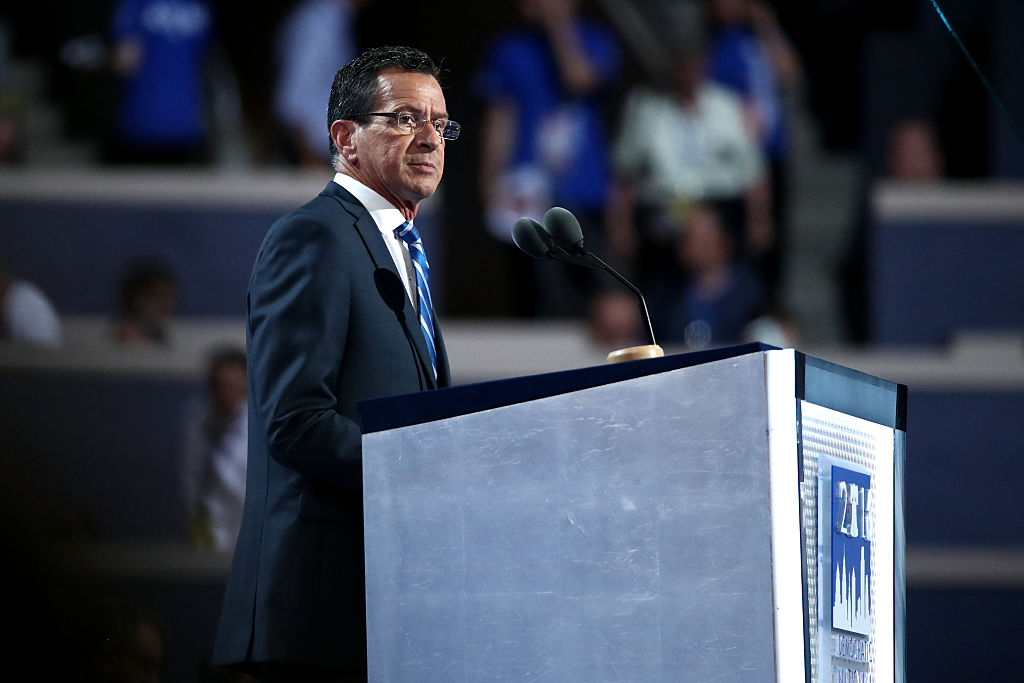 Gov. Dan Malloy delivers a speech on the first day of the Democratic National Convention