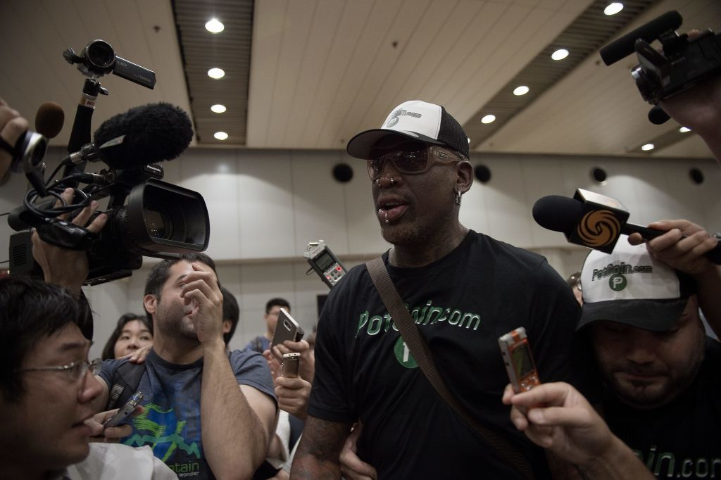 Dennis Rodman returns from North Korea in PotCoin tshirt