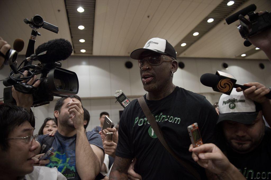 Dennis Rodman returns from North Korea in PotCoin tshirt