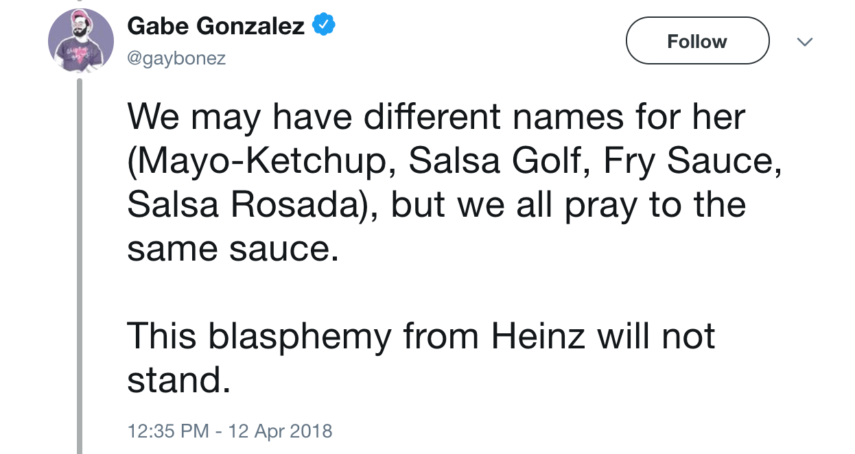 Different names mayo ketchup