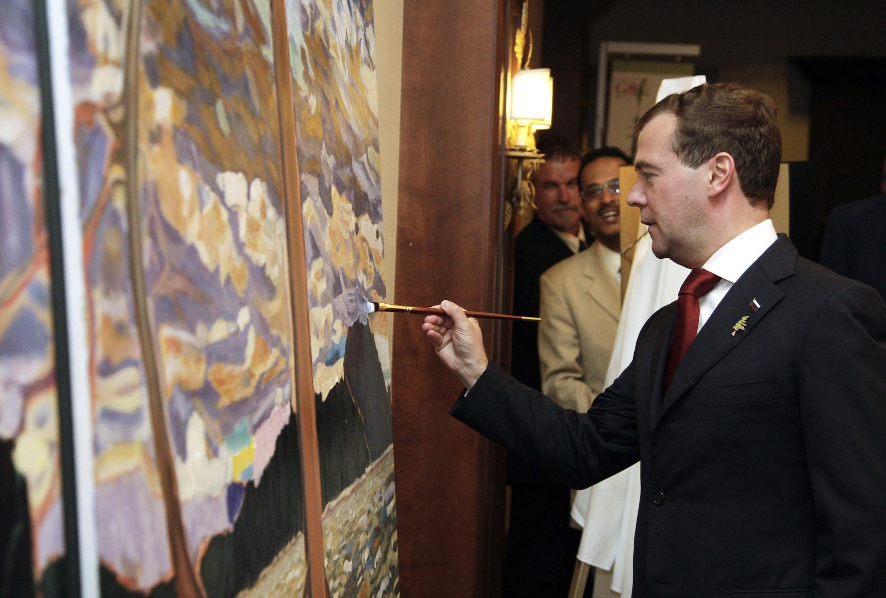 Russia's President Dmitry Medvedev painting