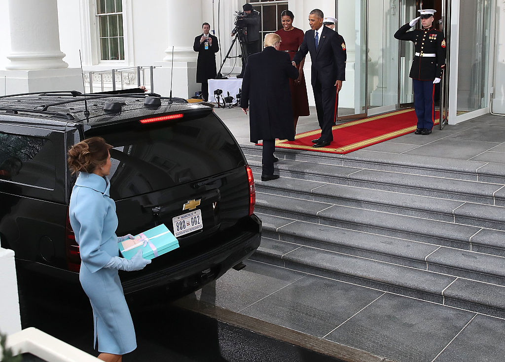 President-elect Donald Trump ,and his wife Melania Trump are greeted by President Barack Obama