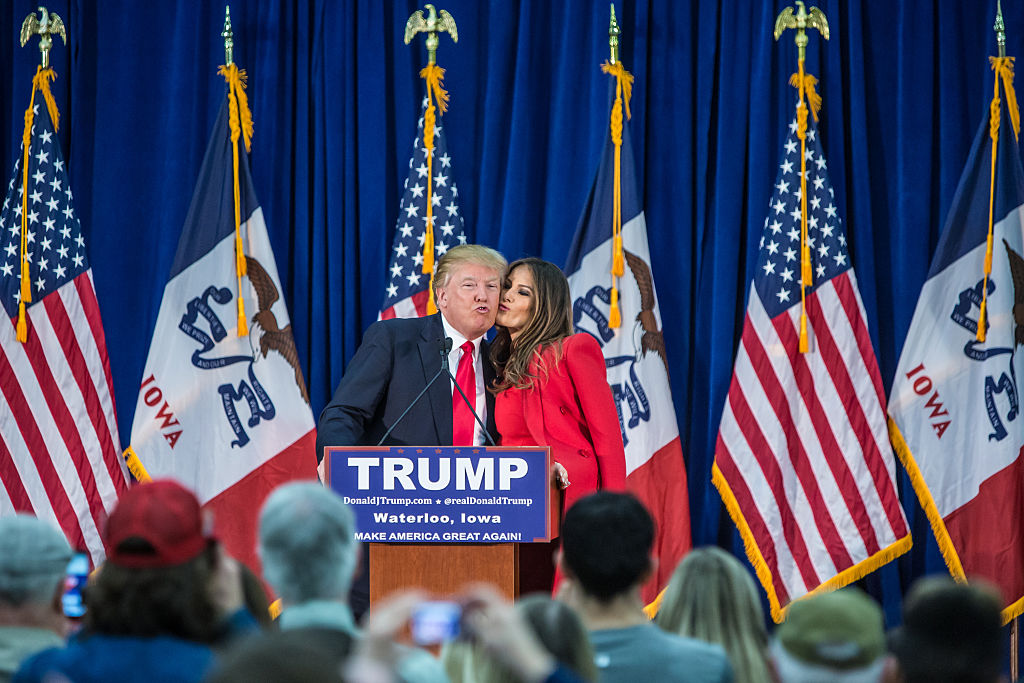 Republican presidential candidate Donald Trump is greeted by his wife Melania Trump