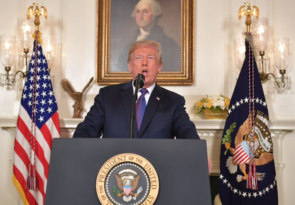 President Donald Trump addresses the nation on the situation in Syria