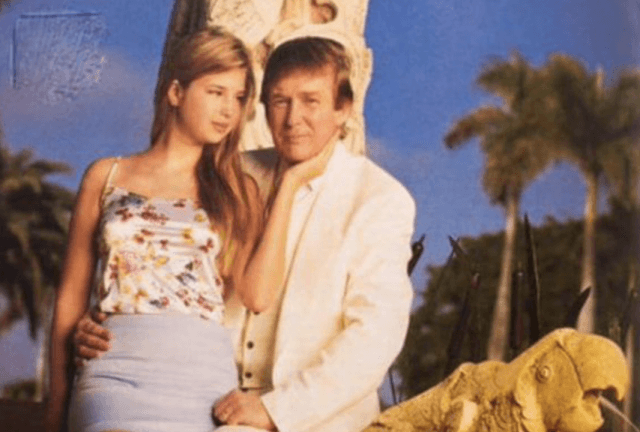 Ivanka Trump posing with Donald Trump in a Vanity Fair photoshoot.