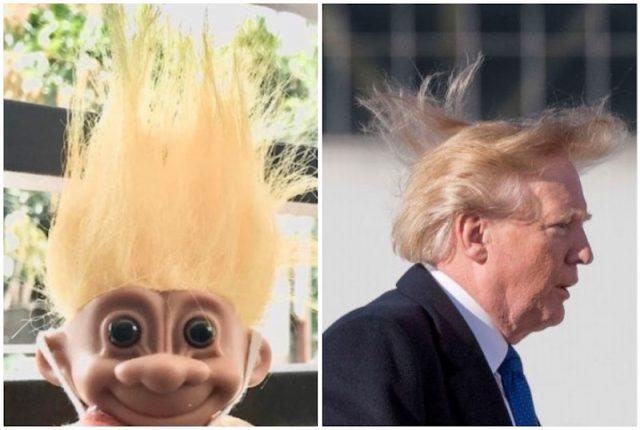 Trump and Troll Doll collage.