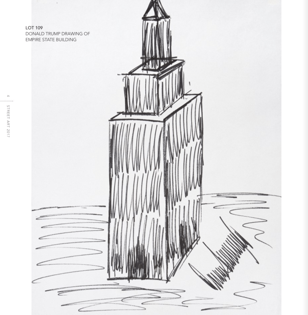 Donald Trump drawing of the empire state buildinga
