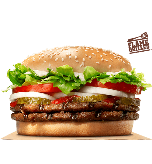 The double whopper on a white background.