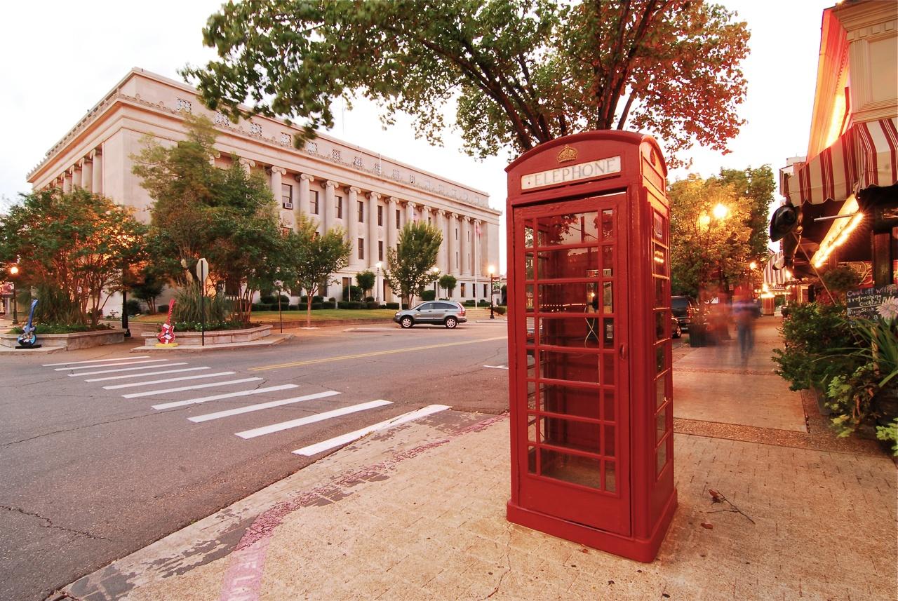 El Dorado Arkansas with red phone booth in front