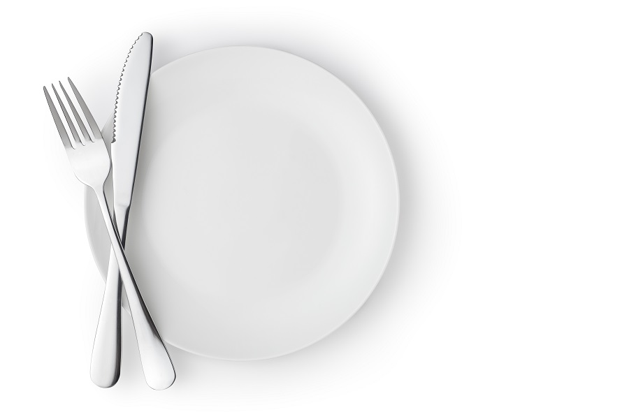 Fork and knife cross on a empty plate,