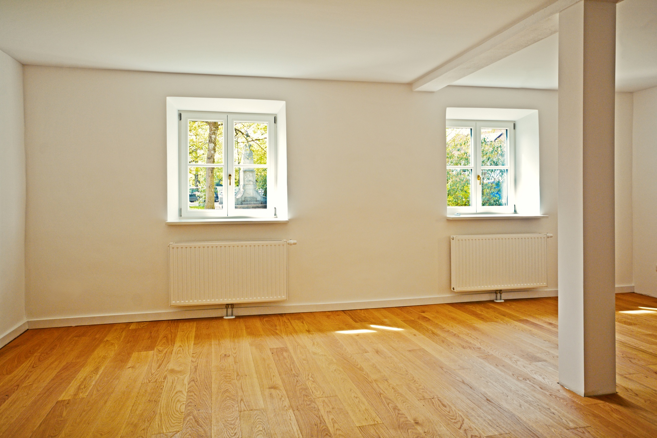 Empty Living room in an old building, Apartment with parquet flooring