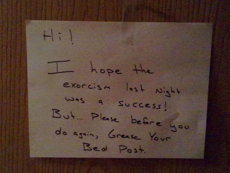 Exorcism neighbor note