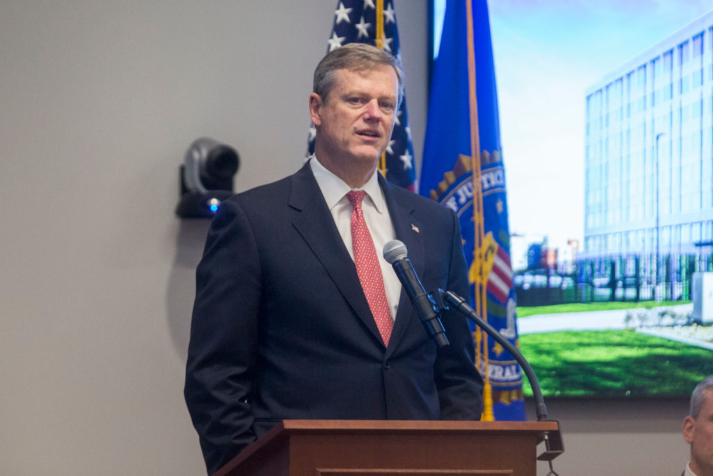 Massachusetts Governor Charlie Baker attends the opening of FBI Boston Headquarters
