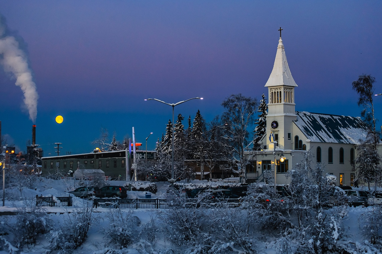 Church in Fairbanks Alaska just before sunrise.