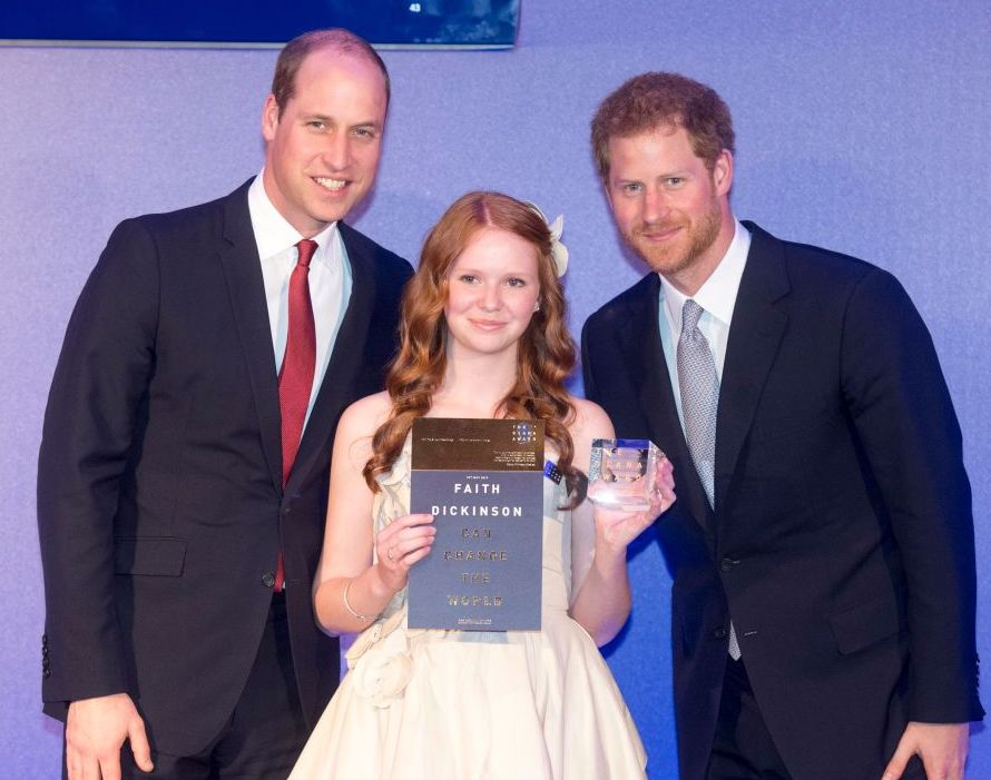 Faith Dickinson with Princes Harry and William Diana Award's royal wedding invitee