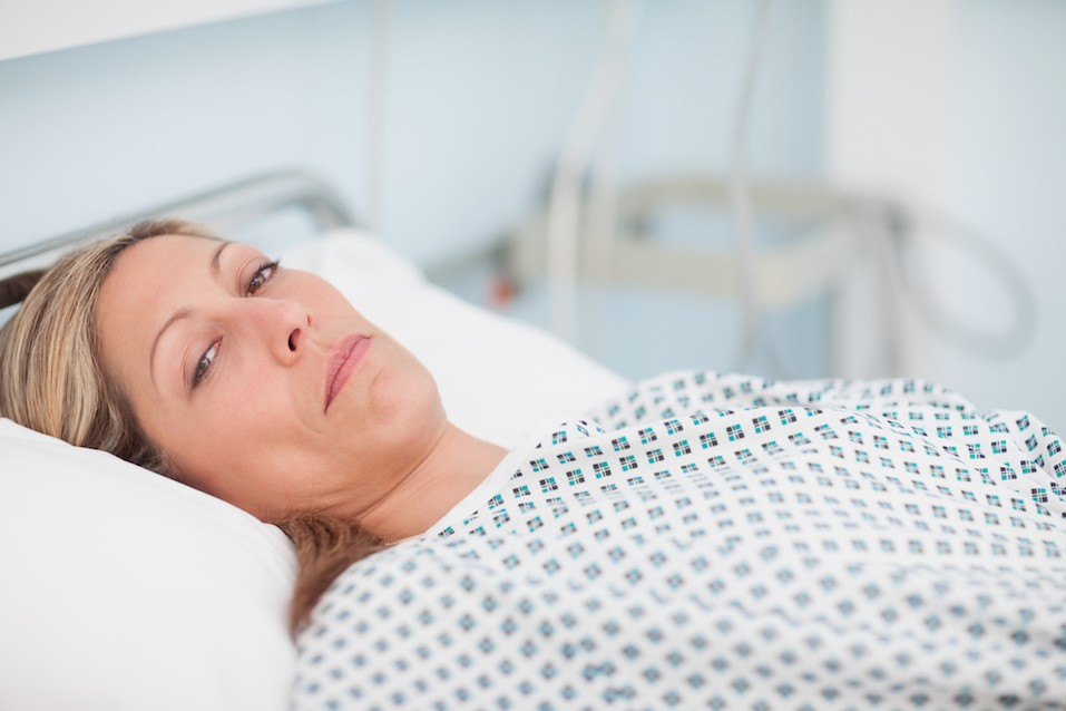Female patient waking up in the morning