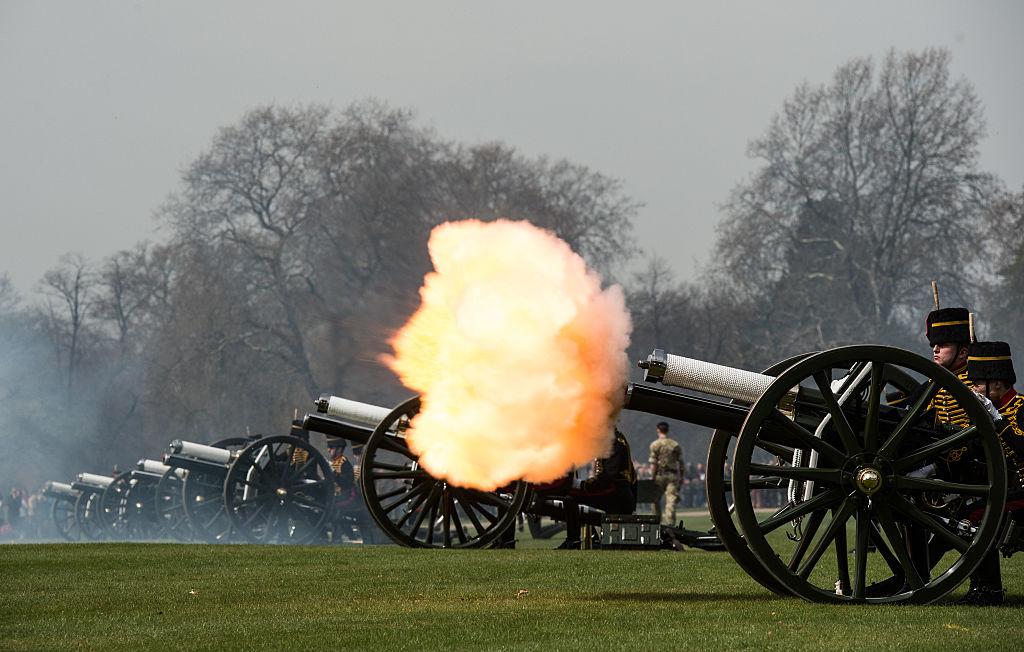 A gun fires during a 41 gun royal salute to mark the 90th birthday of Queen Elizabeth II