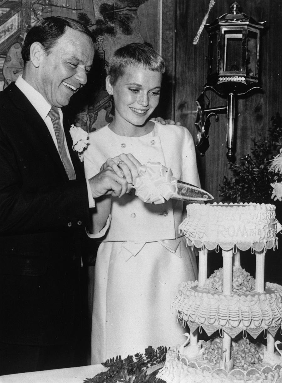 Frank Sinatra and actress Mia Farrow on their wedding