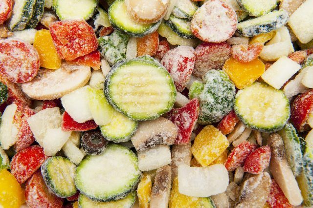 Frozen vegetables in a pile.