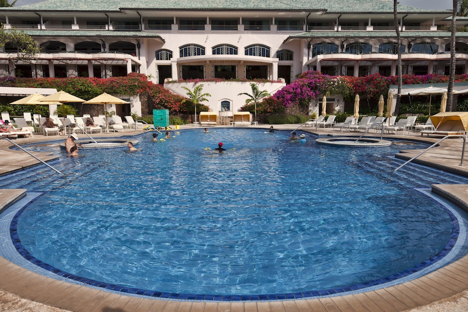 Guests of the Manele Bay Resort enjoy themselves and stay cool in the refreshing pool