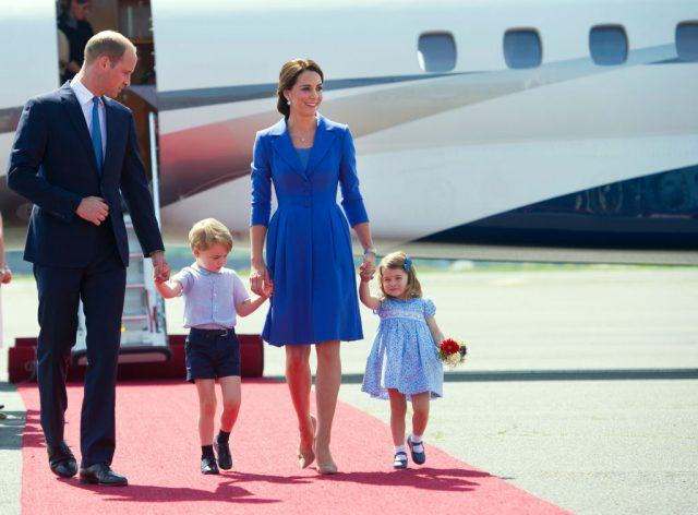 Britain's Prince William Duke of Cambridge, and his wife Kate the Duchess of Cambridge and their children Prince George and Princess Charlotte arrive at the airport in Berlin