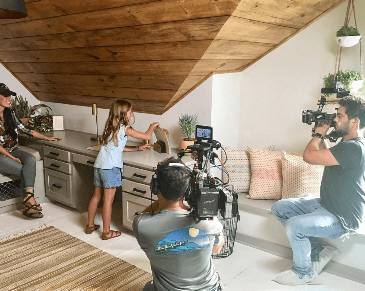 Ella Gaines helping stage house