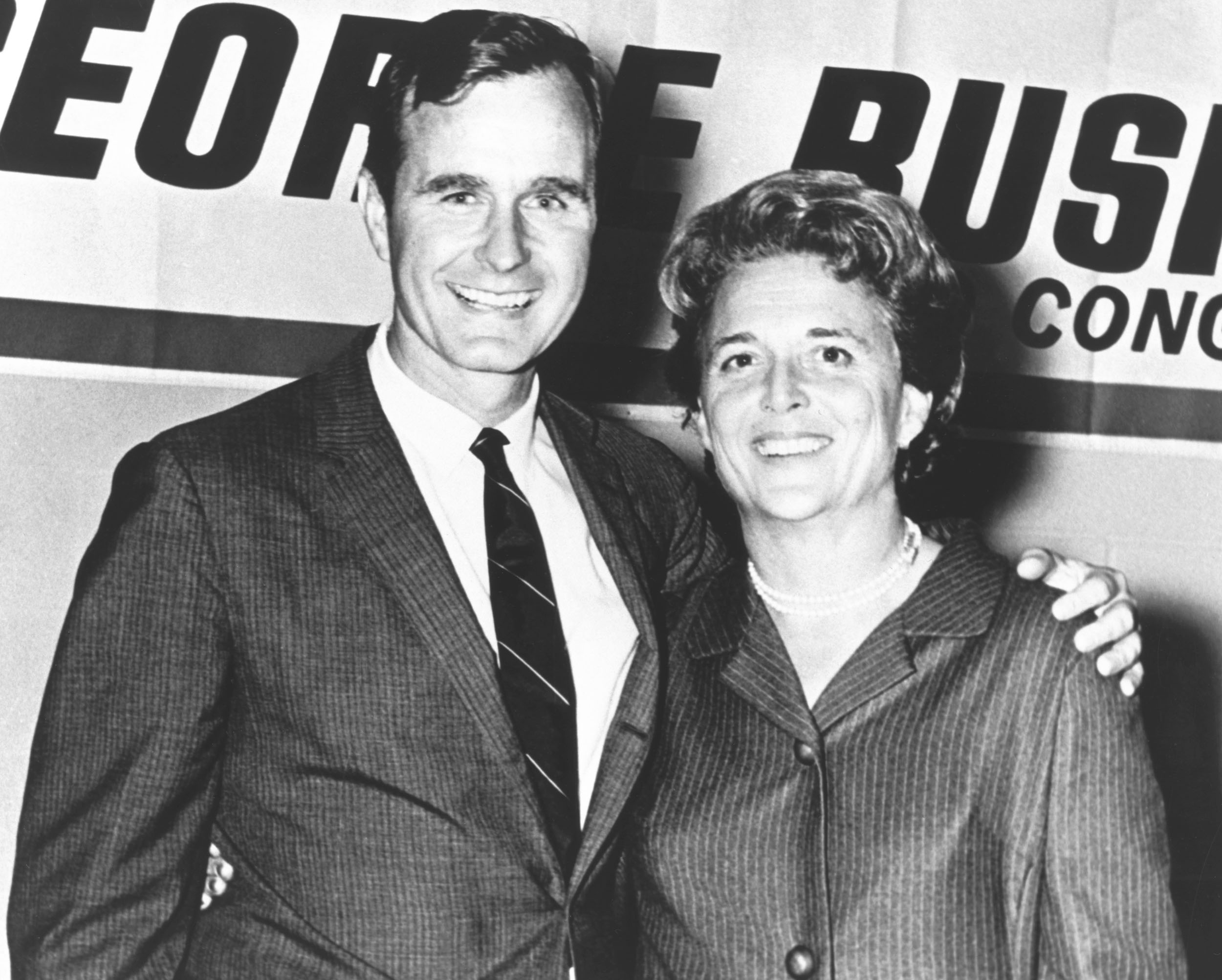 George Herbert Walker Bush poses with his wife Barbara during his campaign for Congress in the 1960s.