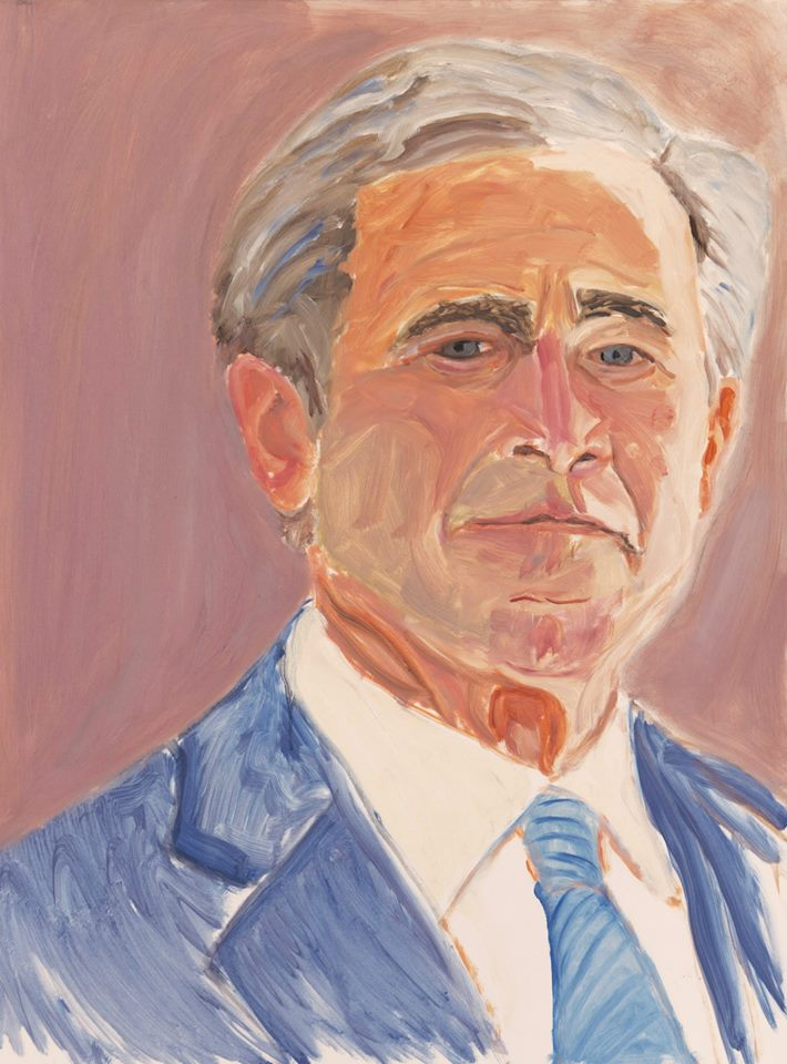 George Bush painting self portrait