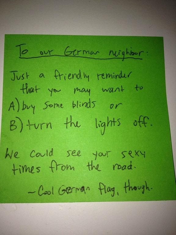 German neighbor note sex