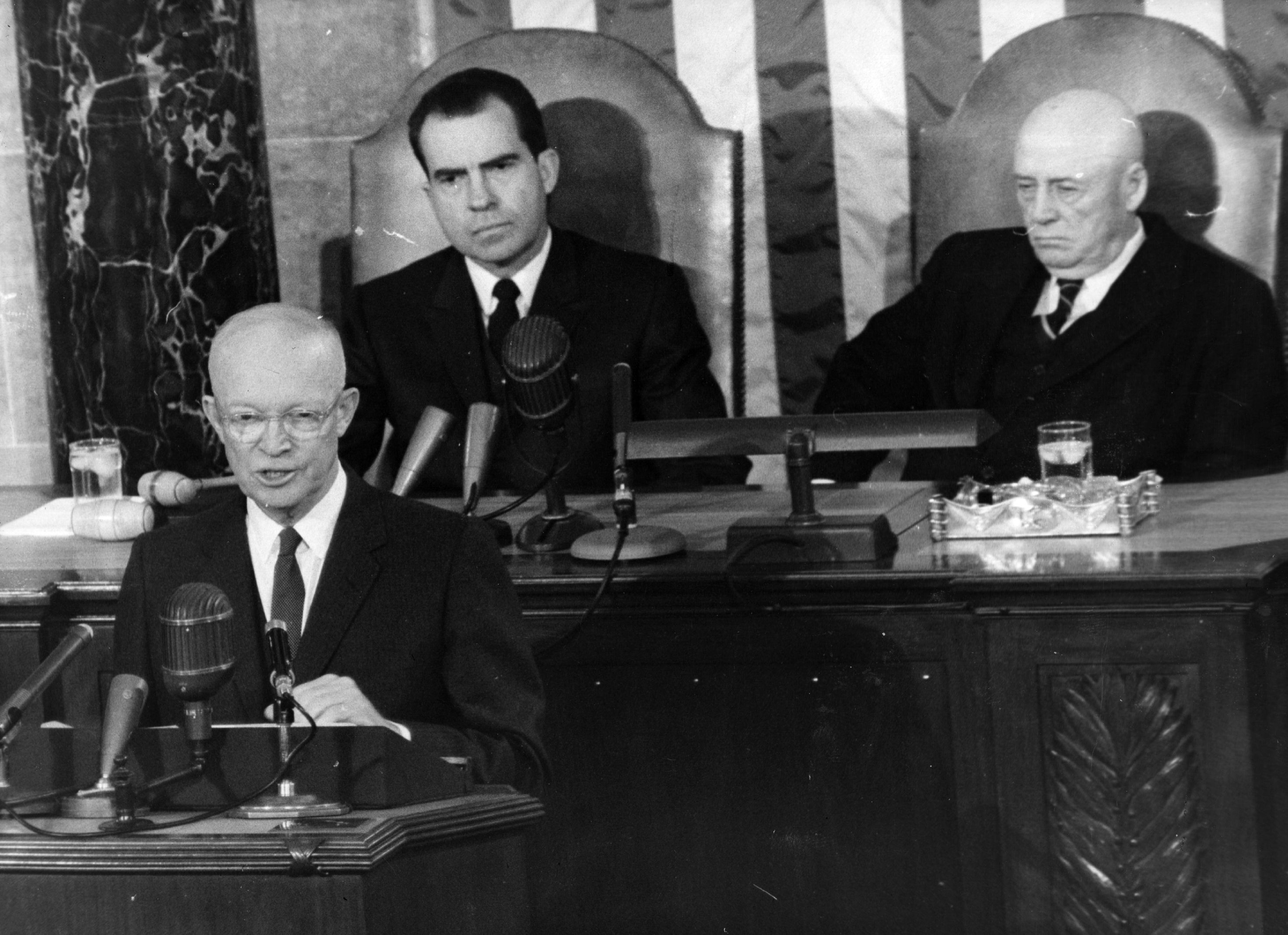 Dwight D Eisenhower's State of the Union with Richard Nixon in the background