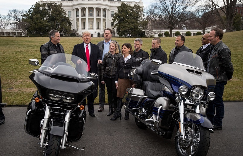 Trump with Harley Davidson executives and several motorcycles in February 2017