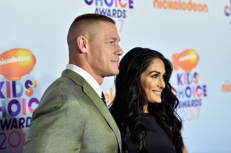 LOS ANGELES, CA - MARCH 11: Professional wrestlers John Cena (L) and Nikki Bella at Nickelodeon's 2017 Kids' Choice Awards at USC Galen Center on March 11, 2017 in Los Angeles, California. (Photo by Alberto E. Rodriguez/Getty Images)