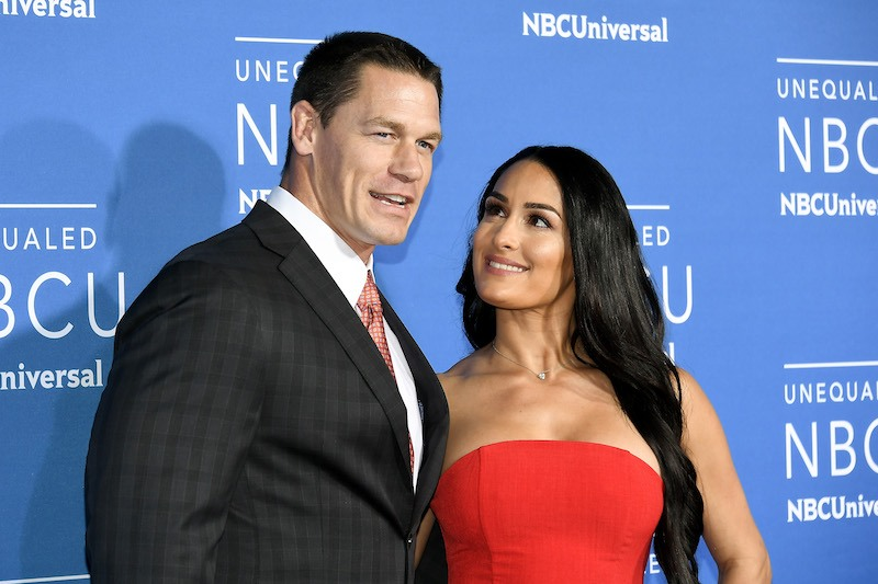 NEW YORK, NY - MAY 15: John Cena (L) and Nikki Bella attend the 2017 NBCUniversal Upfront at Radio City Music Hall on May 15, 2017 in New York City. (Photo by Dia Dipasupil/Getty Images)
