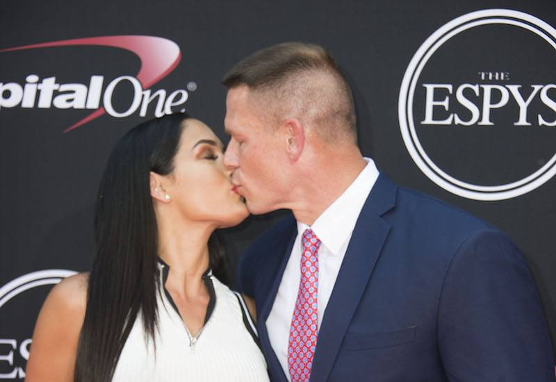 "HOLLYWOOD, CALIFORNIA - APRIL 07: Actor/pro wrestler John Cena (L) and professional wrestler Nikki Bella attend FOX's ""American Idol"" Finale For The Farewell Season at Dolby Theatre on April 7, 2016 in Hollywood, California. (Photo by Alberto E. Rodriguez/Getty Images)"