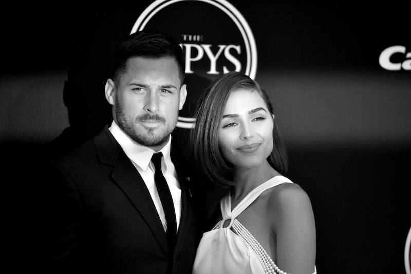 LOS ANGELES, CALIFORNIA - JULY 12: (EDITORS NOTE: This image has been converted to black and white.) NFL player Danny Amendola and model Olivia Culpo attend the 2017 ESPYS at Microsoft Theater on July 12, 2017 in Los Angeles, California. (Photo by Matt Winkelmeyer/Getty Images)