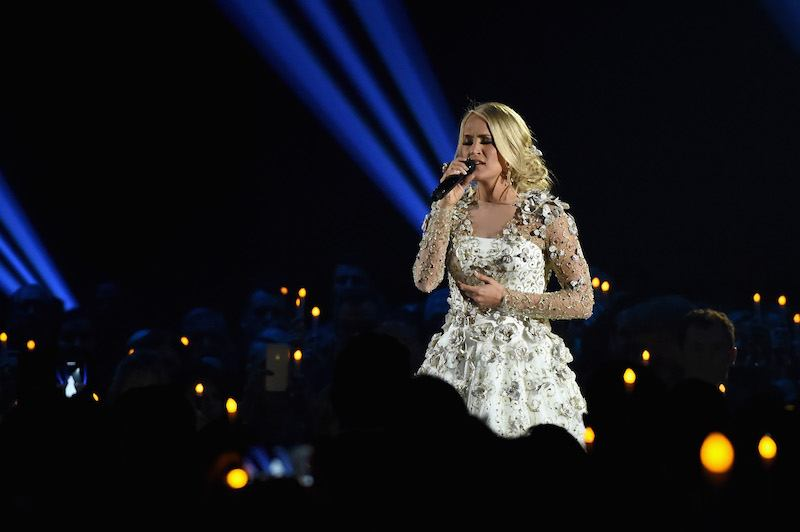 NASHVILLE, TN - NOVEMBER 08: Carrie Underwood performs onstage at the 51st annual CMA Awards at the Bridgestone Arena on November 8, 2017 in Nashville, Tennessee. (Photo by Rick Diamond/Getty Images)